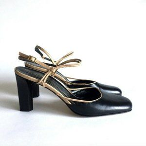Kate Spade Black Beige Leather Slingback size 9.5M